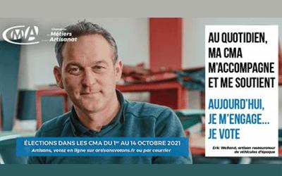 Elections Chambre de Métiers et de l'Artisanat du 1er au 14 octobre : Je vote !